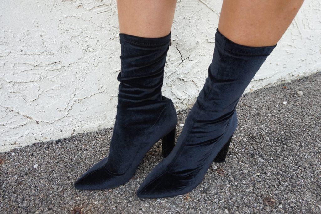 black velvet sock booties